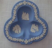 Vintage Wedgwood Jasperware Blue & White Trinket Plate (S), Clover Shape