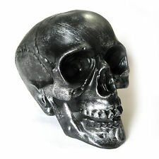 "Grey Human Skull Silver Metallic Halloween Hanted House Party Prop 7"""