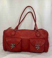 Cynthia Rowley Red Raw Leather Satchel Large Pebbled Handbag Purse Retail $295