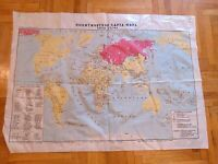 Vintage soviet political map of the world. Polyethylene.  USSR. Original