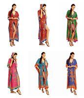 Ladies Full Length Oversized Maxi Kimono Hooded Tribal  Kaftan Gown Dress
