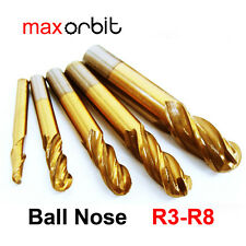 5PC Ball Nose 4 Flutes Milling Cutter, M2 HSS Titanium End Mill Round Bits R3-R8
