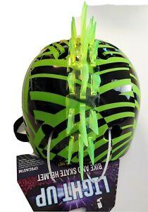 Krash Dazzle LED Light Up Green Fin Youth Bike/Skate Helmet Green/Black