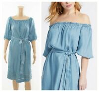 ex M&S Bardot Tencel Denim Midi Summer Holiday Dress