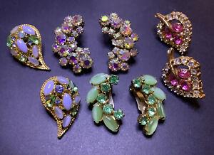 High End Estate Vintage Rhinestone Earring Lot Brilliant Sparkling Colorful!!