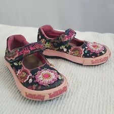 Lelli Kelly Girls Toddler Mary Jane Pink Blue Floral Beaded Shoes US 1/EU 21 (K)