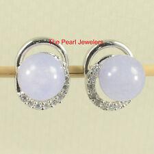 Solid Sterling Silver 925 10mm Lavender Jade & Cubic Zirconia Stud Earrings TPJ