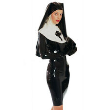 Sexy Black Latex Nuns Queen Uniform With Hood Exotic Rubber Dress Unique Cosplay