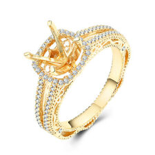 Prong Setting Round 7.5mm Natural SI/H Diamonds 10K Yellow Gold Engagement Ring