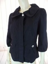 ANN TAYLOR PETITES Jacket MP Black Lightweight Cotton Zip Front 3/4 Sleeve RETRO