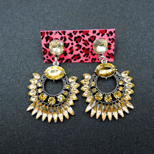 crystal gold drop Earring Party Jewelry New Betsey Johnson rare Alloy Rhinestone