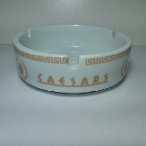 Vintage WHITE Caesars Atlantic City Casino Ashtray - With Roman Head Image
