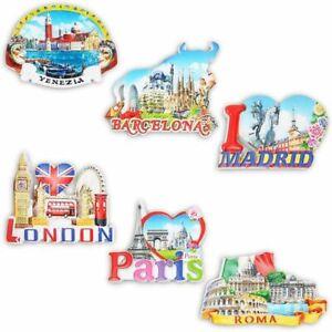 Refrigerator Magnets, London, Paris, Roma, Barcelona, Venezia, Madrid (6 Pack)
