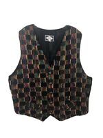 Remi Multicolor Vintage Knit Front Vest Waist Coat - Made in USA- Men's XL