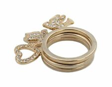 Zest Swarovski Crystal Golden 3 Stack Ring Set Heart & Dove