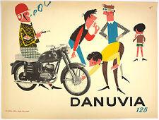 Vtg Orig. Advertising, Poster Danuvia 125 motorbike, motorcycle