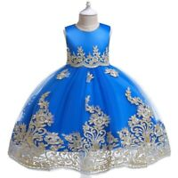 Girl's Flower Princess Dresses Party Evening Gown Kids Puffyyarn Dress Xmas Gift