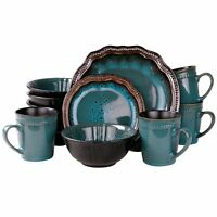 ELAMA MYSTIC WAVES 16-PIECE HIGH GLOSS DINNERWARE SET DINNER PLATES BOWLS for 4