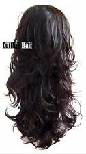 Dark Brown 3/4 Wig Hair Piece Layer Long Wavy Half Wig  055-4