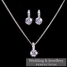 Bridesmaid Jewelry Set Wedding Jewellery Crystal Rhinestone Necklace Earrings UK