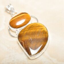 "Handmade Golden Tiger's Eye Gemstone 925 Sterling Silver Pendant 2.25"" #P14378"