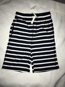Gymboree boys size Large 10-12 navy white striped shorts jersey Pockets Nwt