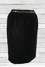 VINTAGE CELINE BUCKLE LOGO VELVET PENCIL SKIRT, FR 38