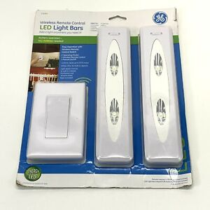 New! GE Wireless Remote Control LED Light Bars 2-Pack Bright White Light #17528