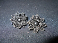 Vintage Made In West Germany Black Plastic Lace Clip On Earrings