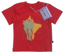 Animal Tails Ethical Organic Fair Asian Elephant print red baby t-shirt(18-24 m)