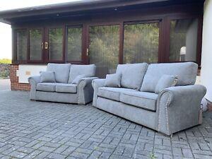 3&2 Seater Grey Fabric Stud Monica Sofa