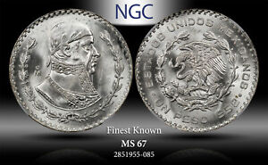 1958-Mo MEXICO 1 PESO NGC MS67 SILVER  FINEST KNOWN