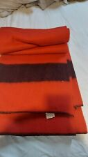 Vintage WOOL BLANKET Golden Dawn Red with black stripes-82 by 72 Very Nice