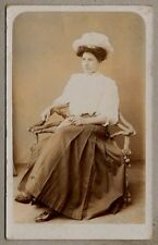 Edwardian Postcard - Beautifully dressed lady wearing a hat, skirt and blouse