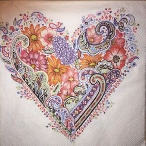 4 x Single Paper Napkins - Decoupage - 3 Ply - Craft - Spring Floral Heart B4