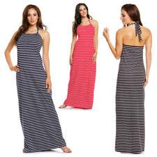 Summer/Beach Halter Neck Striped Dresses for Women