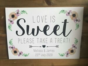 LOVE IS SWEET sign PERSONALISED rustic POPPY collection WEDDING party candy cart