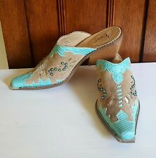 WOMENS CAMI WESTERN MULES CLOGS WITH TURQUOISE ~ 7