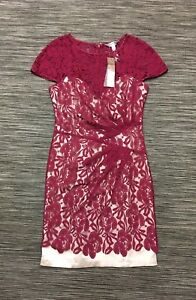 Lipsy Short Sleeve Gathered Floral Lace Mini Dress In Red Nude Size 12 RRP£65