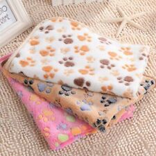 Pet Warm Mat Small Large Paw Print Cat Dog Puppy Fleece Soft Blanket Bed Cushion
