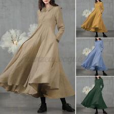 Zanzea женские повседневные плюс размер макси-платье с длинным рукавом Пляжная вечеринка платье трапециевидного силуэта