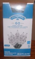 Holiday Time 60 Cool White LED Teardrop C6 Lights-NEW-Green Wire-FREE SHIPPING