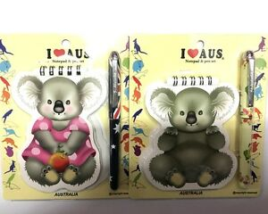4x Cute Koala Note Book w Pen Stationary Sets Australian Souvenir Aussie Gift