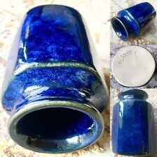 "Antique Art Deco (1927) L Hjorth Danish Cobalt Blue Glazed Pottery 4""/10cm Vase"