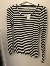 Abercrombie & Fitch A F - Black White Striped Top - Women Small S - RRP £16