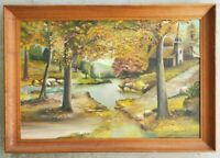 Antique Forest River Pond Landscape Original Oil Painting Vintage Framed Artwork