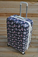 "NAVY BLUE ROSES FLORAL 28"" SUITCASE TROLLEY BAG LUGGAGE SUITCASE 4 WHEELS"