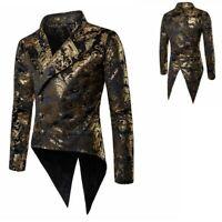 Mens Gilt Tailcoat Gold Tuxedo Lapel Jackets Retro Gothic Steampunk Tops Retro