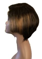 100% Human Hair Pixie Wig  With Highlights It Has 4x4 Lace Closure