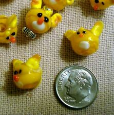 10 Dog beads yellow glass lampwork handmade floppy ear puppy face beads gbs002